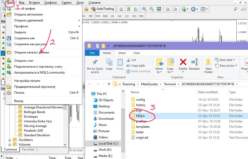 Открыть папку данных MT4