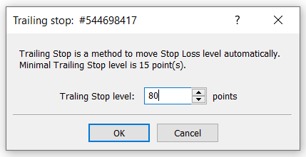 trailing stop points