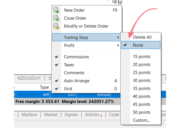 how to set trailing stop loss in mt4
