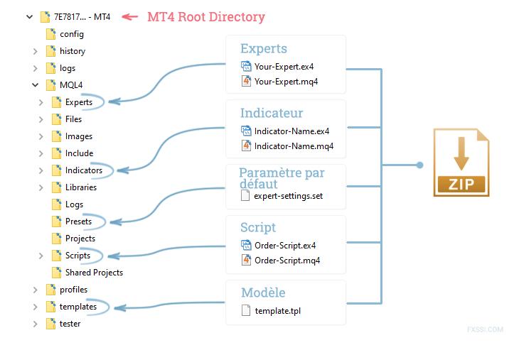 Installation générale des fichiers dans MT4