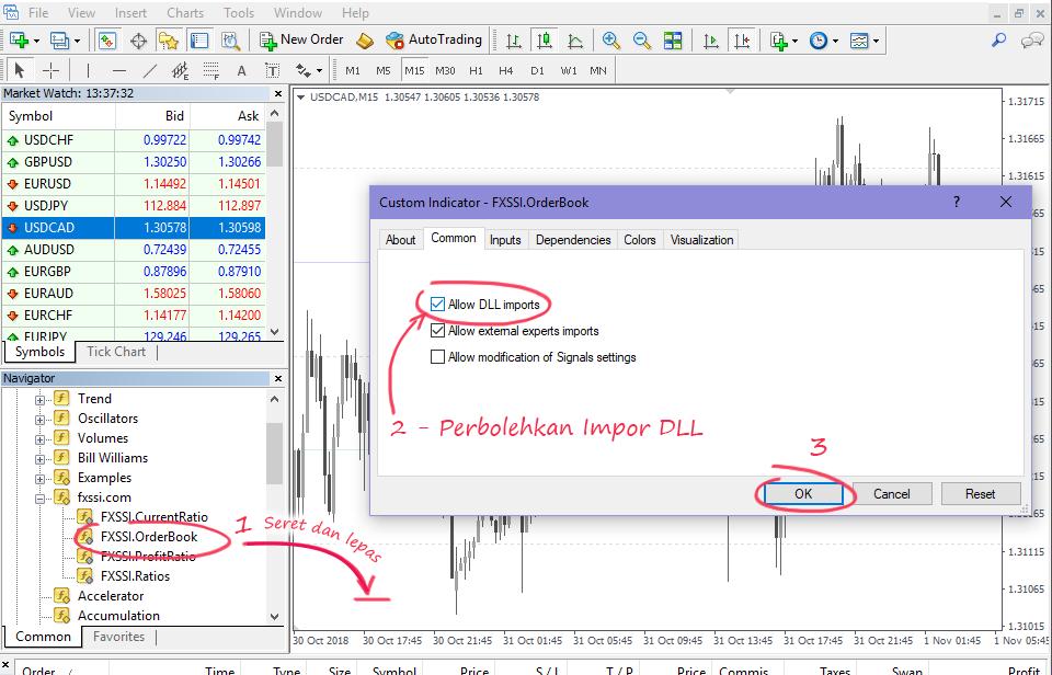 LANGKAH 5 – Izinkan Impor DLL untuk Menjalankan Indikator
